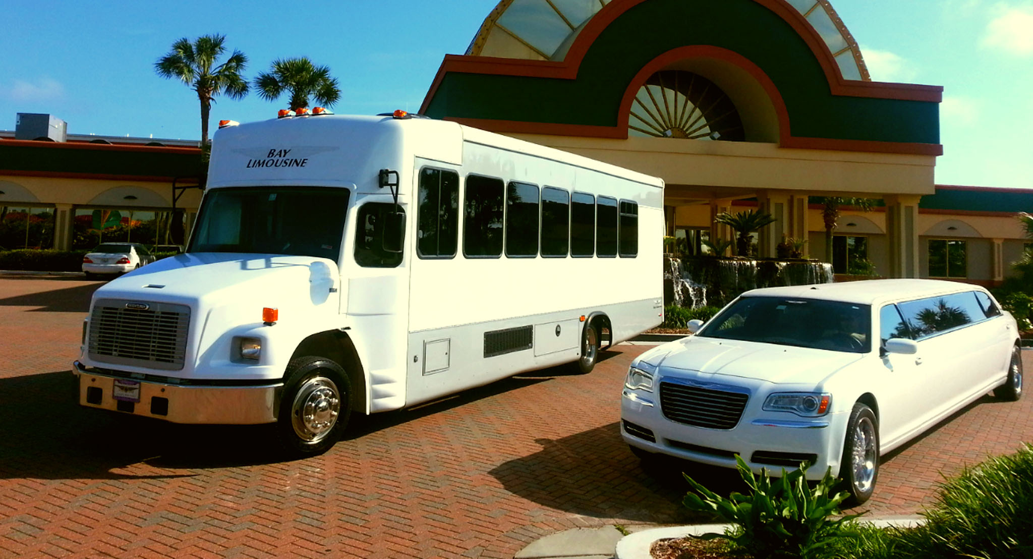 bus and white limo rental