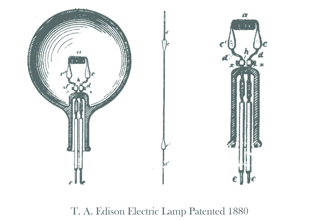 T. A. Edison Electric Lamp Patented 1880