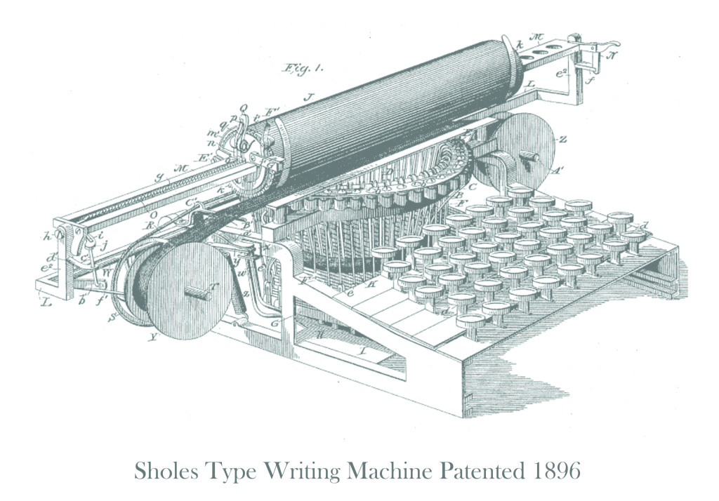 Sholes Type Writing Machine Patented 1896