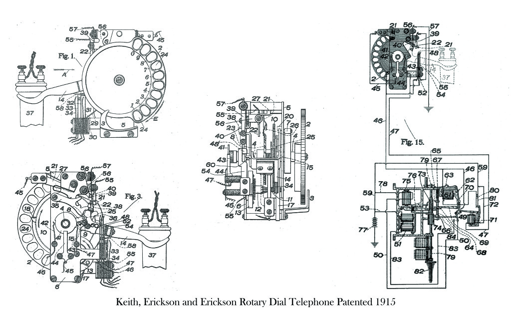 Keith, Erickson and Erickson Rotary Dial Telephone Patented 1915