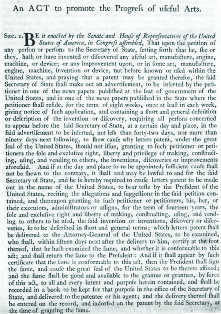 First Patent Statute