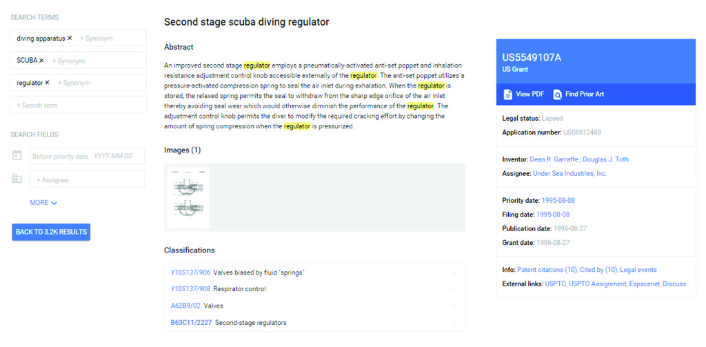 Top portion of Google Patents page for U.S. Patent No. 5,549,107.