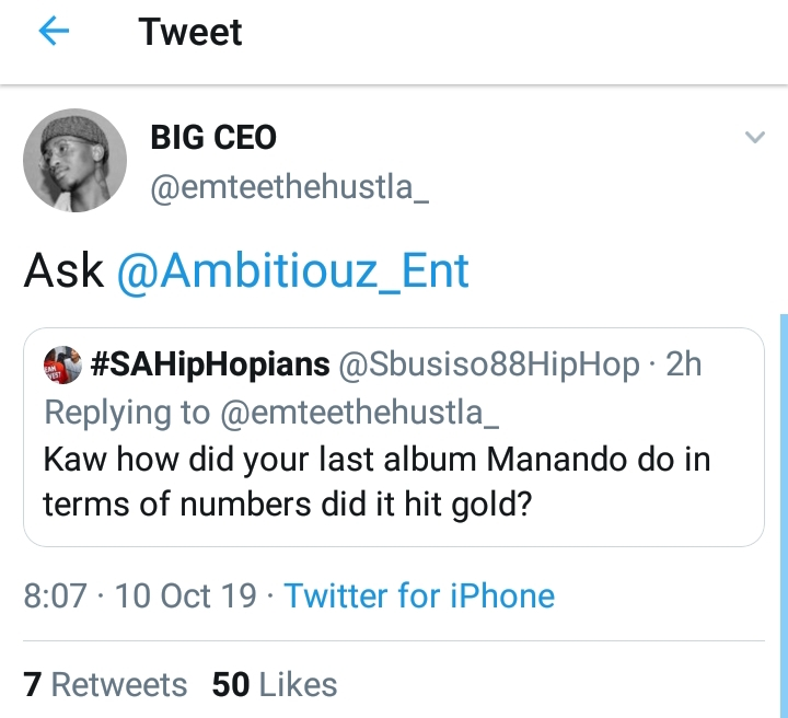 Emtee Responds To A Question Of How His Album 'Manando' Performed In Numbers 2