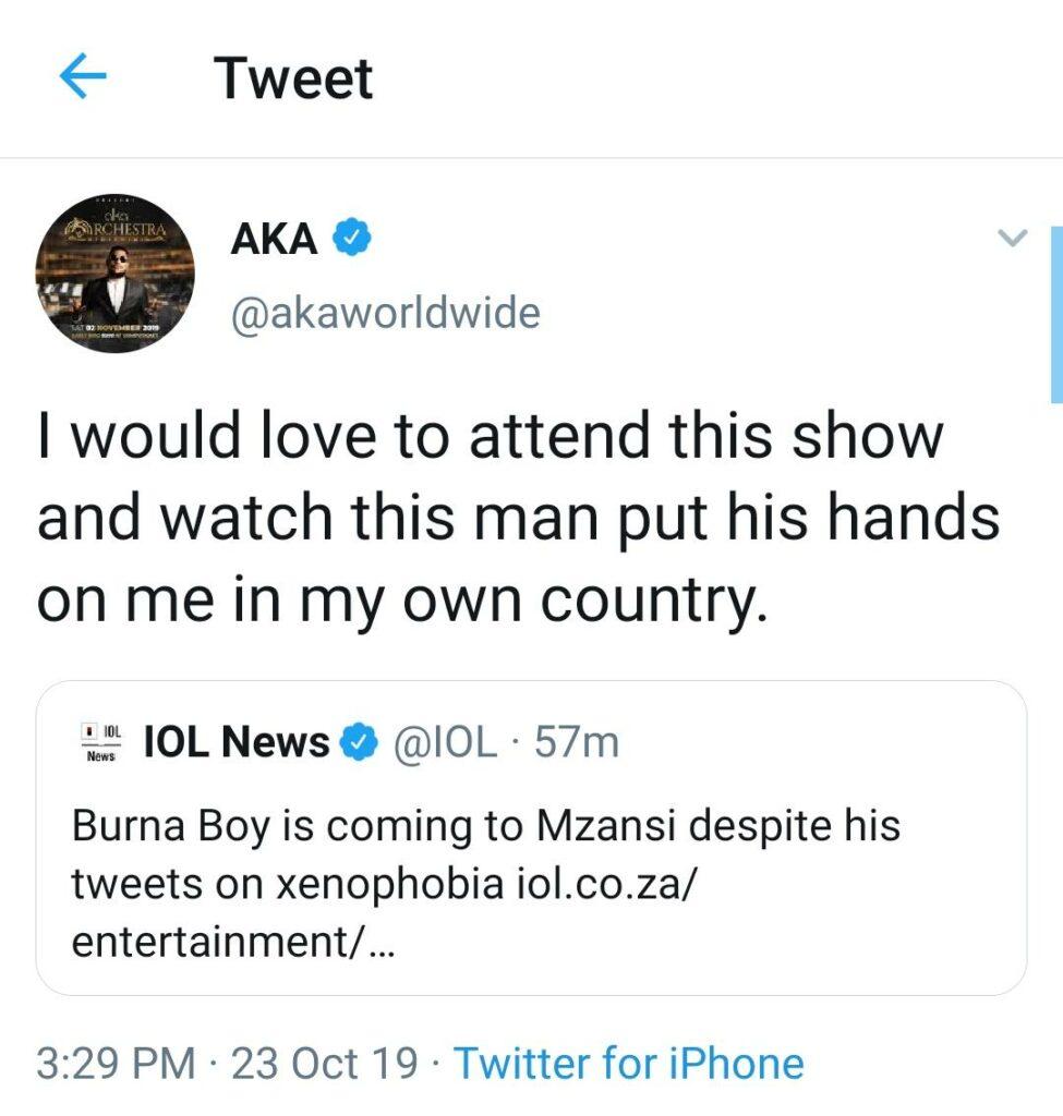 AKA Reacts On Burna Boy's Upcoming Visit To SA 2