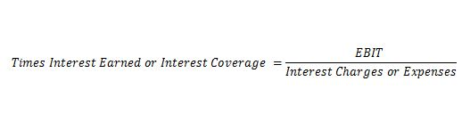 Times interest earned ratio Debt Financial Leverage Ratios   Debt   Total Assets   Equity   Times Interest Earned Times interest earned ratio
