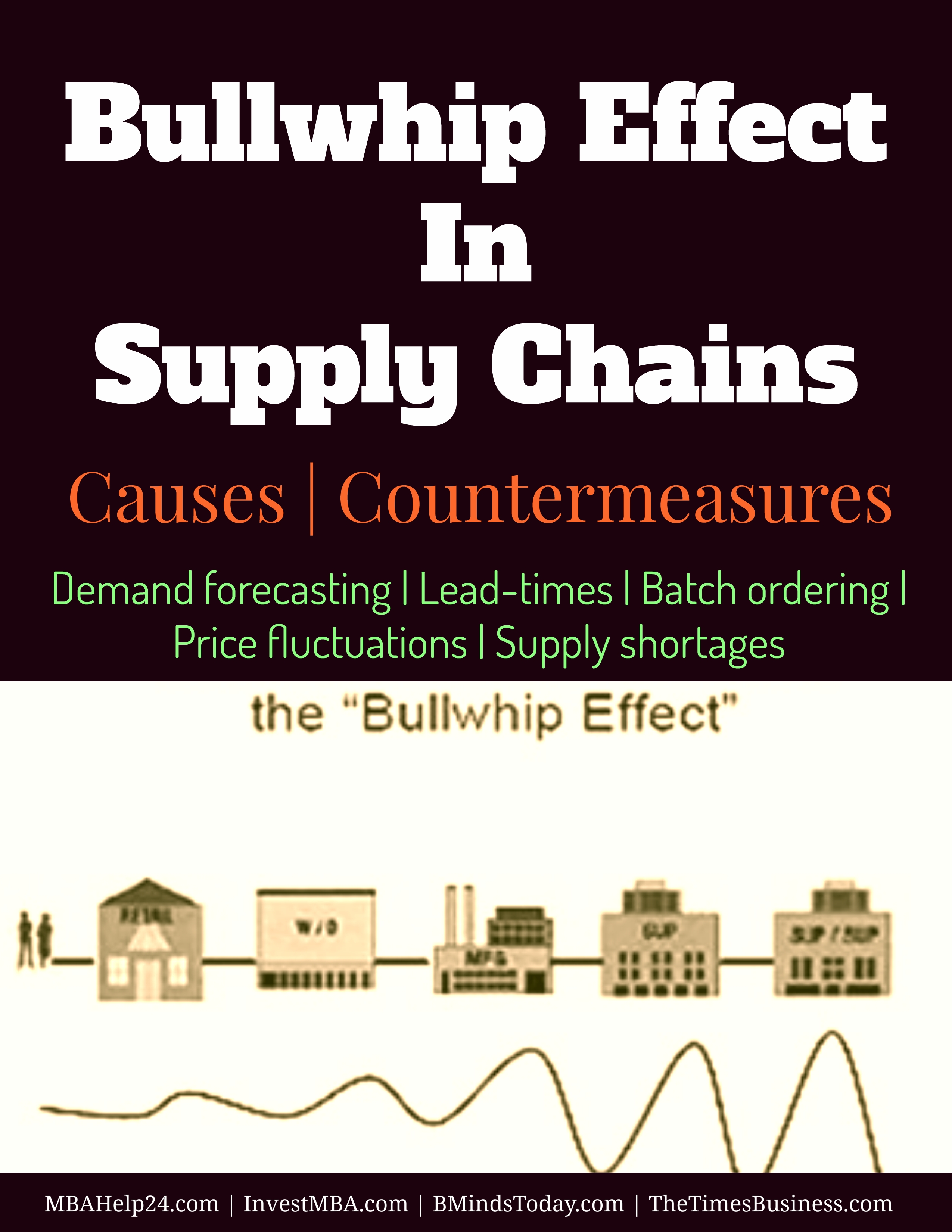 The Bullwhip Effect In Supply Chains   Causes   Countermeasures   Demand forecasting   Lead-times   Batch ordering   Price fluctuations   Supply shortages  Bullwhip Effect The Bullwhip Effect In Supply Chains   Causes   Countermeasures Bullwhip Effect In Supply Chains Causes Countermeasures