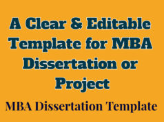 A Clear yet Editable Template for MBA Dissertation or Project