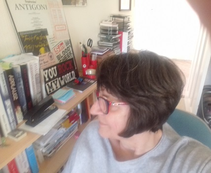 Madalyn Morgan unsuccessfully trying to take a selfie at the computer in my study