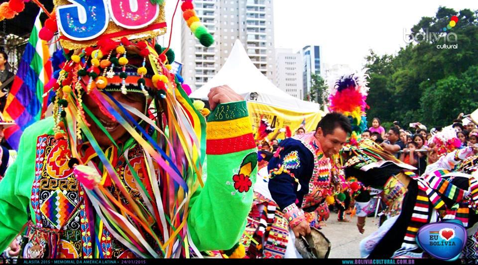 Apresentação cultural na Alasitas do Memorial da América Latina, em São Paulo. Crédito: Bolívia Cultural