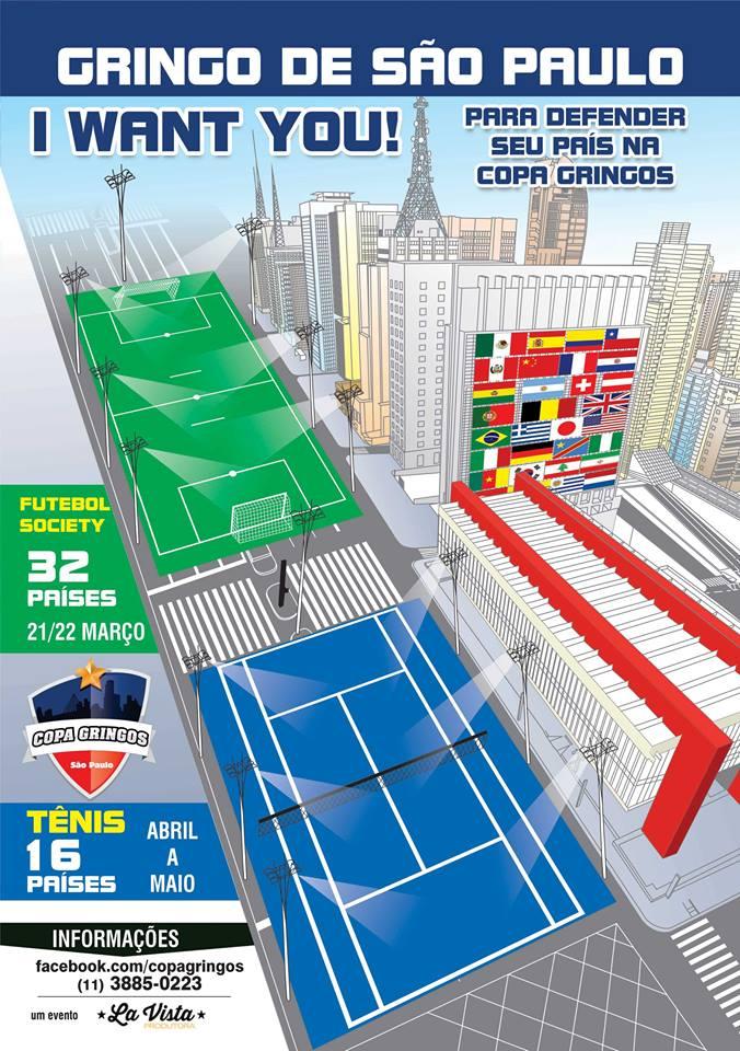 Cartaz de divulgação da Copa Gringos 2015, que terá futebol e tênis. Crédito: Divulgação