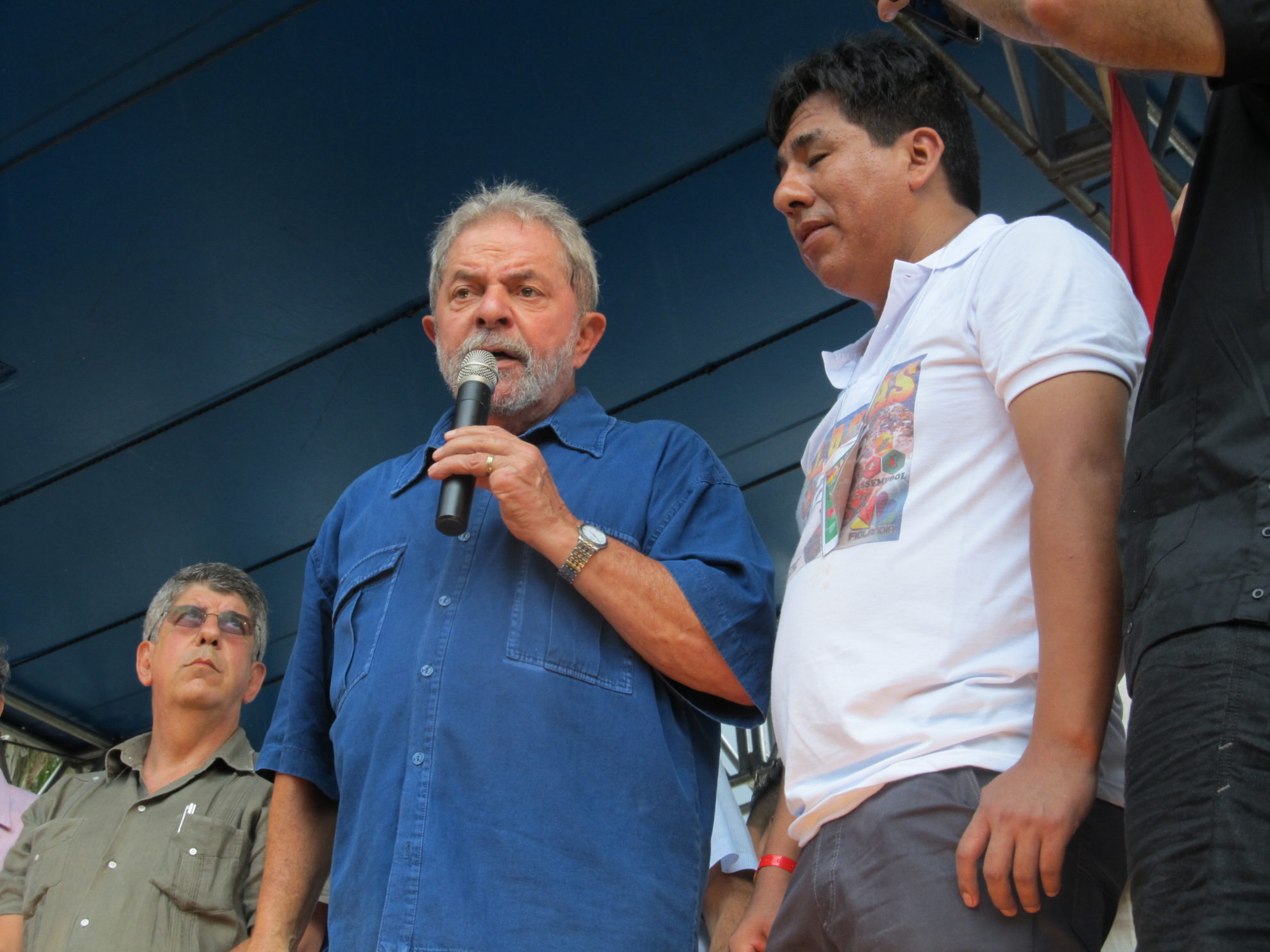 Ex-presidente Lula discursa na Alasitas e manifesta apoio aos imigrantes. Crédito: Rodrigo Borges Delfim