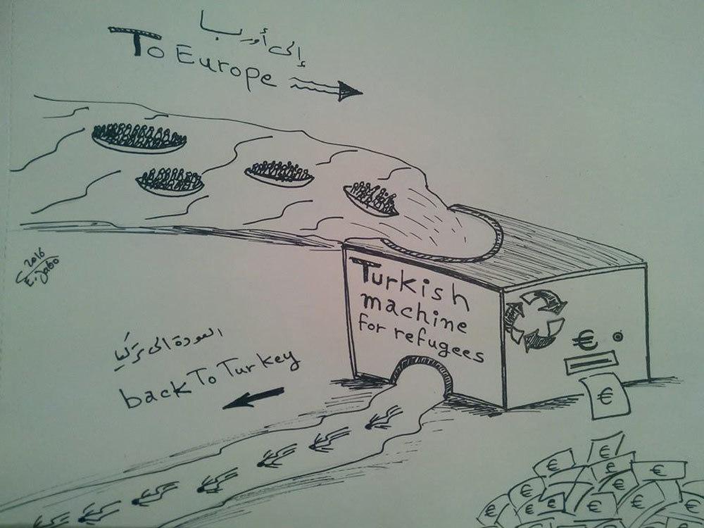 Charge mostra como o polêmico acordo Turquia-UE tem sido visto. Crédito: Driss Jabo, refugiado sírio.