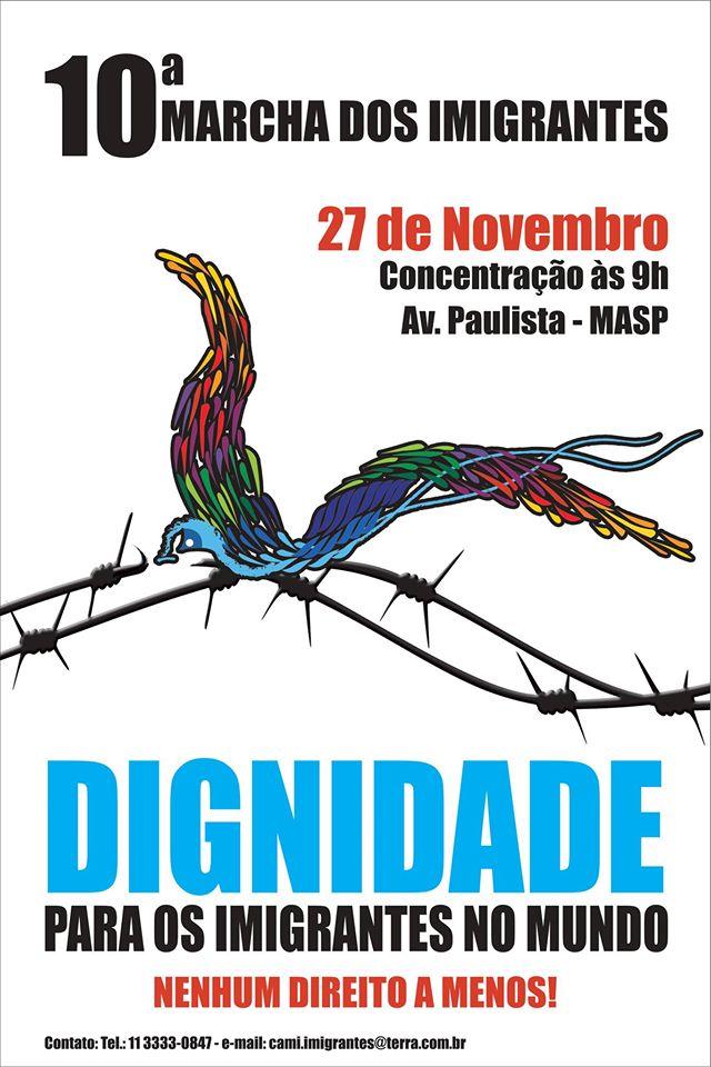 Cartaz da 10ª Marcha dos Imigrantes. Crédito: Divulgação