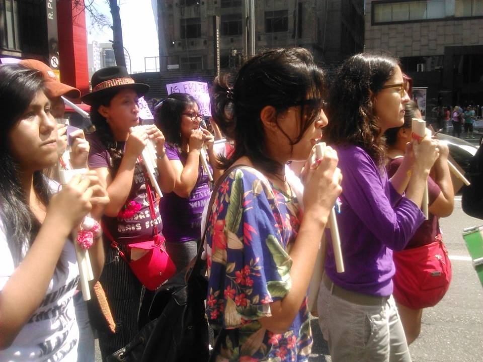 Bloco das Mulheres Migrantes se consolida na Marcha. Crédito: Géssica Brandino