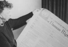 A ex-primeira-dama dos EUA Eleanor Roosevelt, que presidiu o comitê que aprovou a Declaração Universal dos Direitos Humanos em 1948.