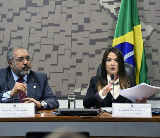 Senador Paulo Paim (PT-RS), e deputada Bruna Furlan (PSDB-SP), respectivamente vice e presidente da comissão. Pedro França/Agência Senado