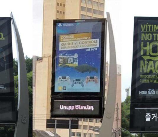 """Montagem reúne mensagens de """"Feliz Natal"""" em diferentes idiomas em relógios de rua de São Paulo"""