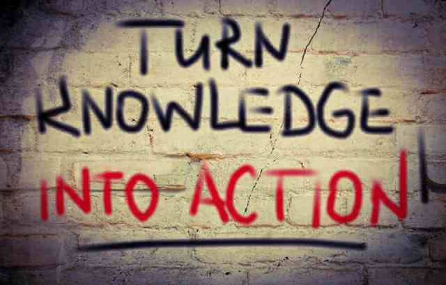 "Brick wall that reads ""Turn knowledge into action"" on it. Women's health is at stake."