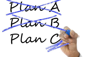 """PLAN A"" and ""PLAN B"" crossed out in market by a hand with a marker. ""PLAN C"" is in process of being circled or selected. Healthcare choice: will you take inflated paper promises or pursue the real thing? Snake oil salesmen always promise things that they cannot deliver..."