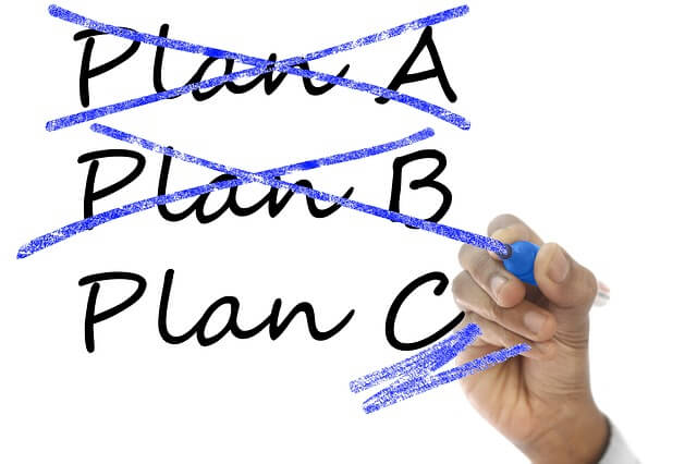 """""""PLAN A"""" and """"PLAN B"""" crossed out in market by a hand with a marker. """"PLAN C"""" is in process of being circled or selected. Healthcare choice: will you take inflated paper promises or pursue the real thing? Snake oil salesmen always promise things that they cannot deliver..."""