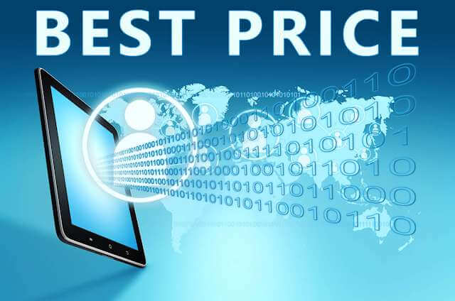 """""""BEST PRICE"""" in writing coming out of computer screen along with 1's and 0's. The best prices come through transparent price systems"""