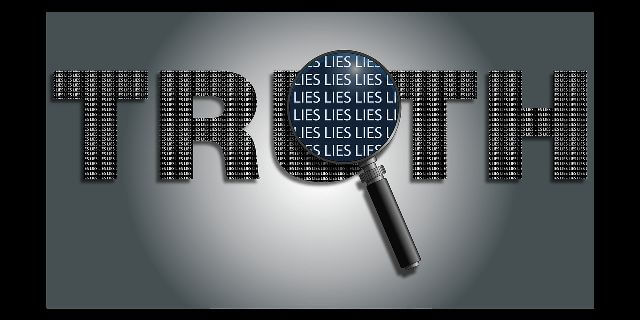 """TRUTH"" in huge letters with a magnifying lens over part of the word showing ""LIES."" Gimmicks and lies. When does it stop? When you and I call out bull shit"