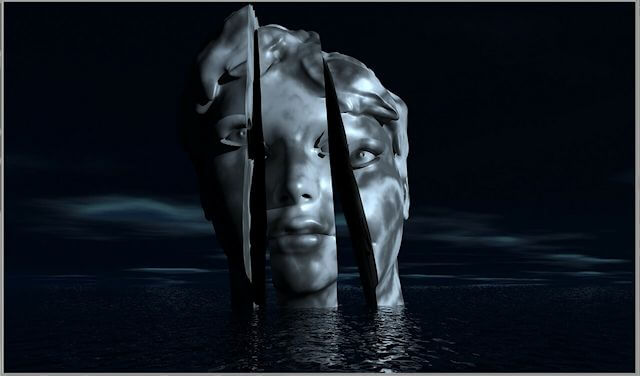 Picture of a statue of a woman submerged in water, with only the head above. The head is fractured. The overall feel of the picture is morose and deathly.
