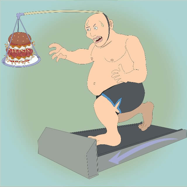 Picture of a fat man, with a burger hanging off of a long handle attached to his head, running in place on a treadmill. Insane is doing the same thing over and over again but expecting different results. Like the fat man above expecting to lose weight despite taking in more calories than using!