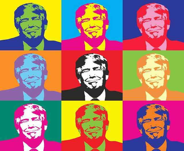 Brady Bunch 9 box picture collage of multi colored picture of Donald Trump.