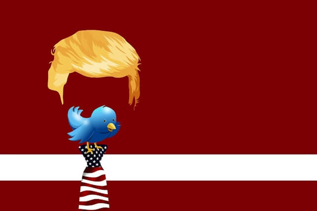 Picture of Trump hair, tie, and a Twitter bird holding up the tie against red and white backdrop