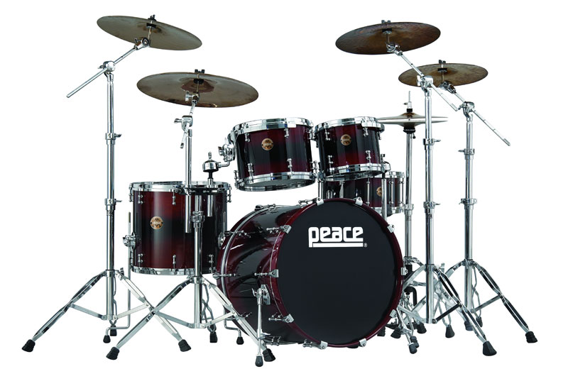 Peace Kahuna bubinga drumset in Gothic Red lacquer stain