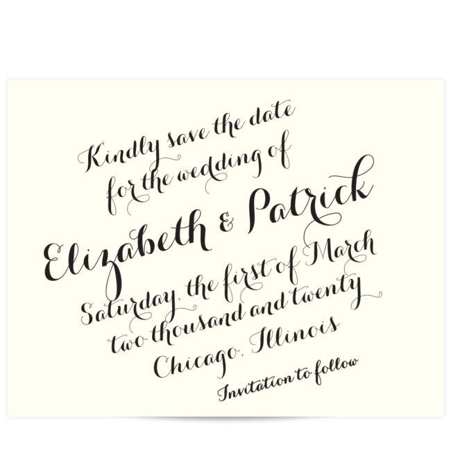script font save the date elegant