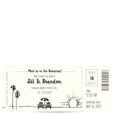 Plane Ticket Destination Wedding Invitation