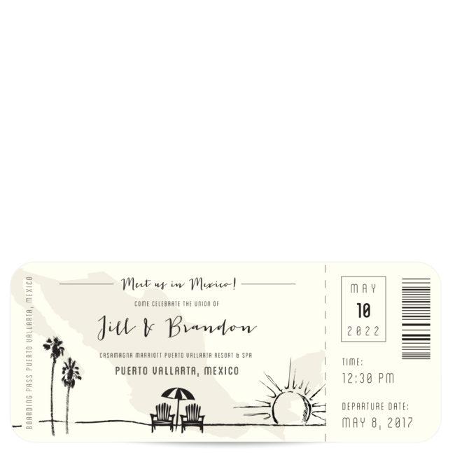 Plane Ticket Mexico Wedding Invitation