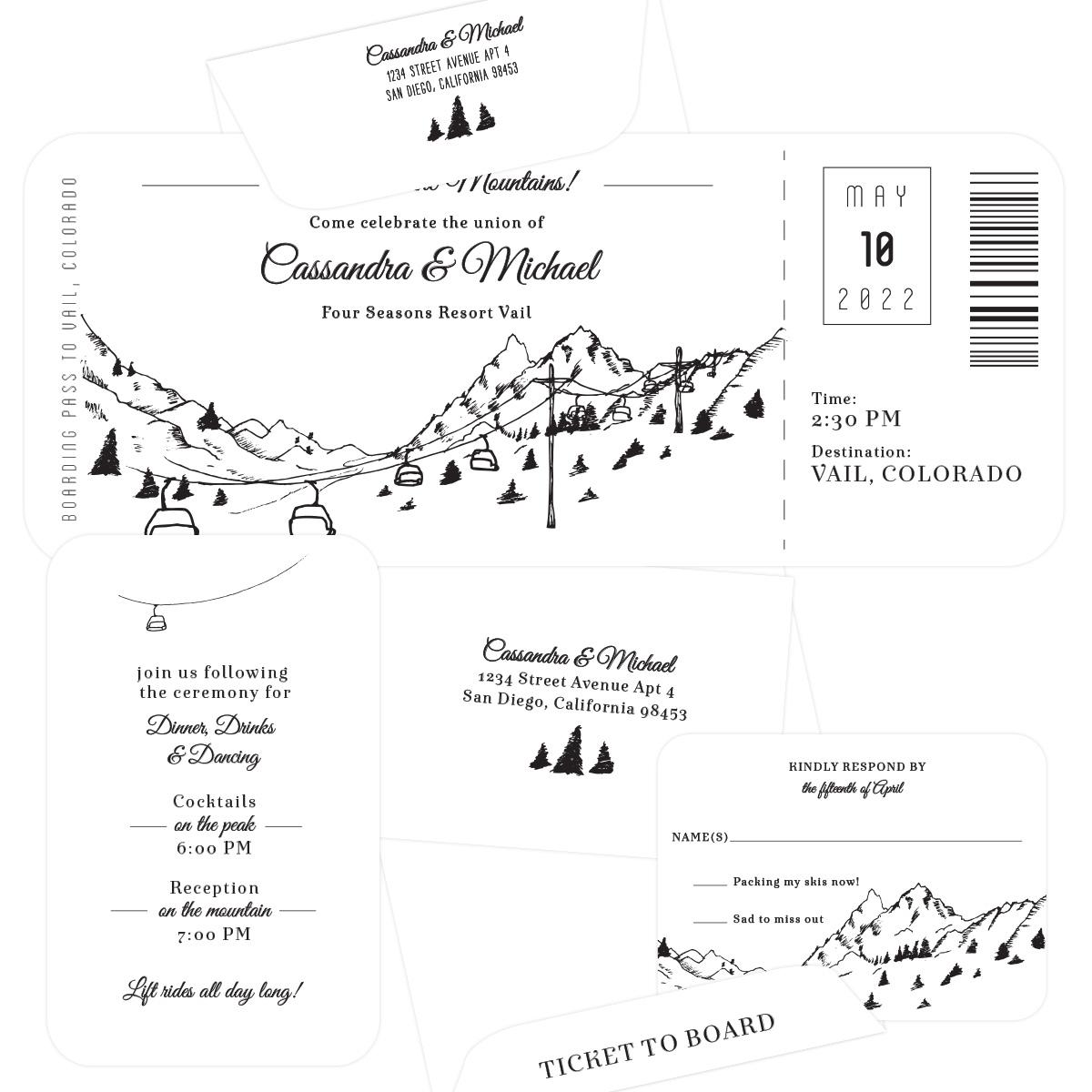 Plane Ticket Wedding Invitations: Plane Ticket To The Mountains Mountain Wedding Invitation
