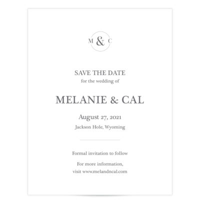 circle initial save the date gray