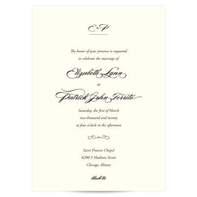 Black Script Wedding Invitation