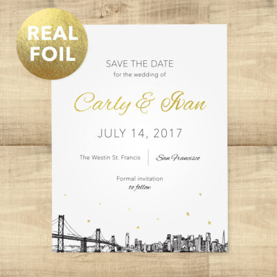 Gold Foil Skyline Save the Date