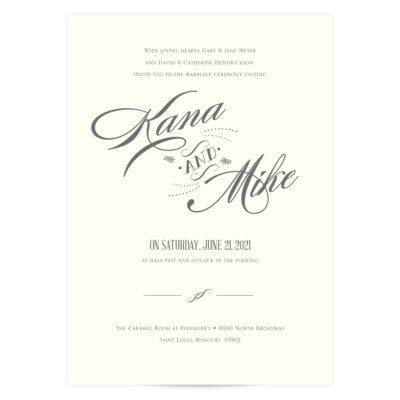 Charcoal Gray Wedding Invitation