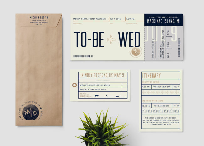 Boarding Pass to Wed - Main Invitation
