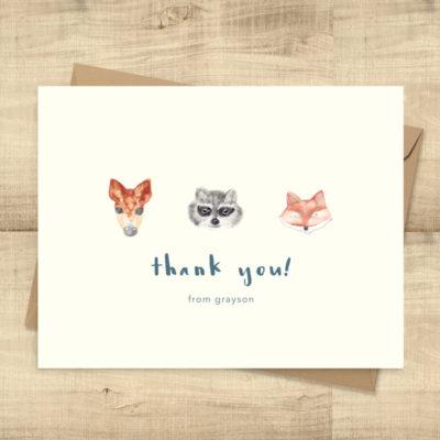 Woodland Animals Thank You Cards -