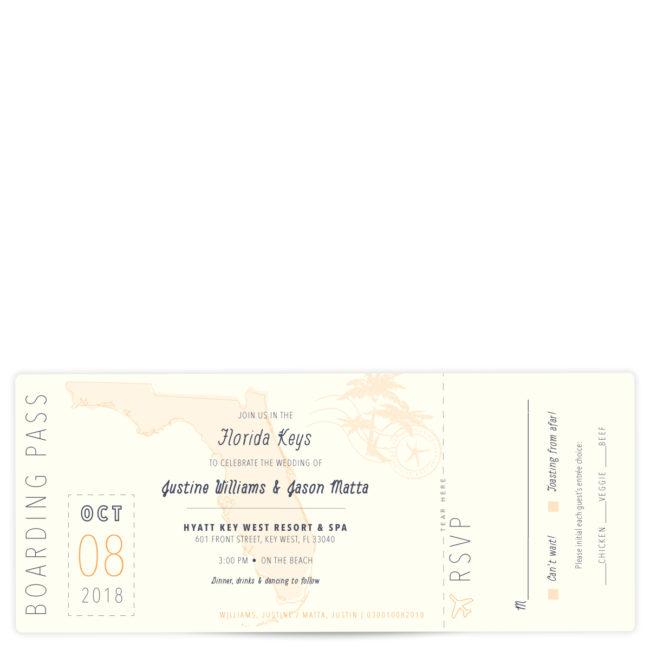Florida Boarding Pass Wedding Invitation
