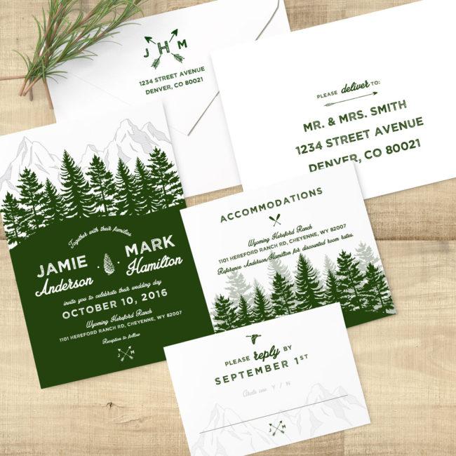 Forest Rustic Woodland Invitation Suite