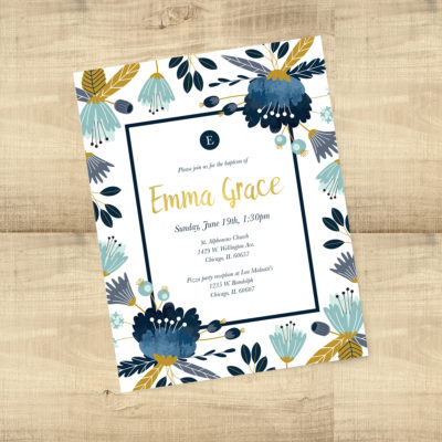 Navy and Yellow Floral Baptism Invitations