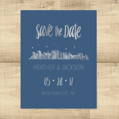 Silver Foil NYC Skyline Save the Date