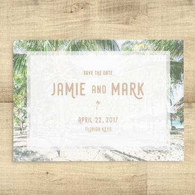 Beach Wedding Palm Tree Save the Dates