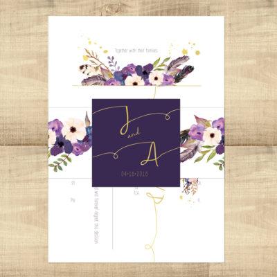 Gold Floral Boho Wedding Invitation Suite