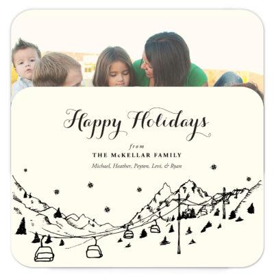 Ski Resort Skyline photo holiday cards