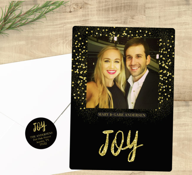 black and gold holiday card