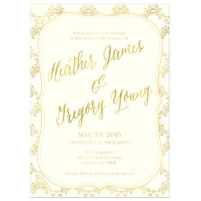 Gold Ornate Wedding Invitation